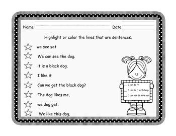 Kindergarten Sentence Conventions Assessments - Three Versions