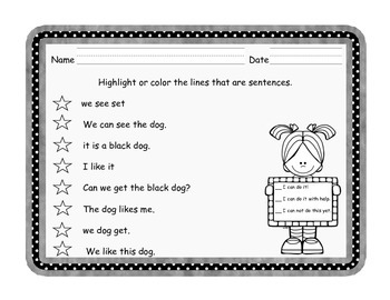 Kindergarten Sentence Conventions Assessments - Three Versions