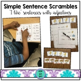 "Simple Sentence Scrambles ""I like..."" (with color words and adjectives)"