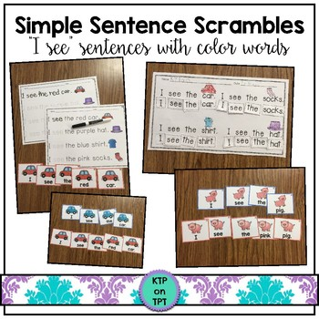 """Simple Sentence Scrambles """"I see..."""" (sight words and colo"""