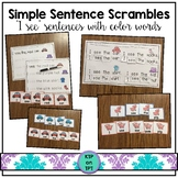 "Simple Sentence Scrambles ""I see..."" (sight words and color words)"