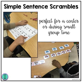 """Simple Sentence Scrambles """"I see..."""" (sight words and color words)"""
