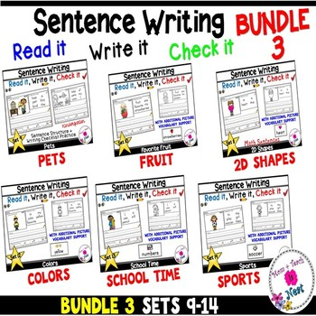 Kindergarten Sentence Structure Writing *Sentence Building-BUNDLE 3 Sets 9-14