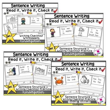 Kindergarten Sentence Structure Writing *Sentence Building-MEGA BUNDLE Sets 1-14
