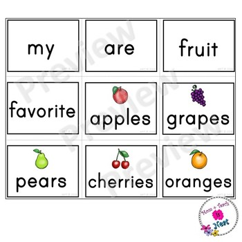 Kindergarten Sentence Structure Writing *Sentence Building-Set 10 Favorite Fruit
