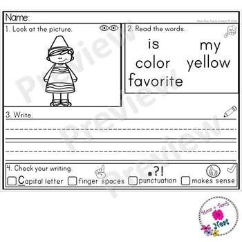 Kindergarten Sentence Structure Writing *Sentence Building- Set 12 Colors