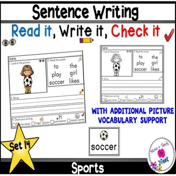 Kindergarten Sentence Structure Writing *Sentence Building- Set 14 Sports