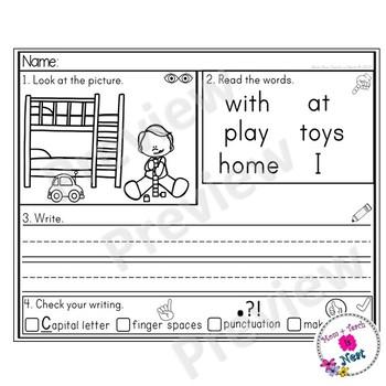 Kindergarten Sentence Structure Writing *Sentence Building- Set 6 At Home