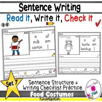 Kindergarten Sentence Structure Writing *Sentence Building- Set 7 Food Costumes