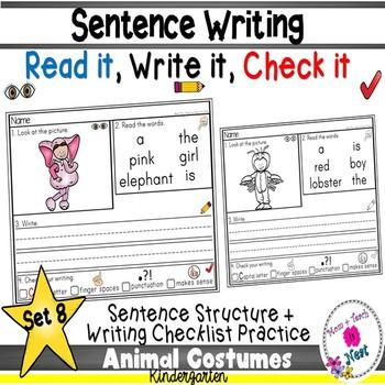 Kindergarten Sentence Structure Writing *Sentence Building-Set 8 Animal Costumes