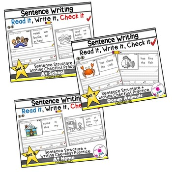 Kindergarten Sentence Structure Writing *Sentence Building- Sets 4-8 BUNDLE 2