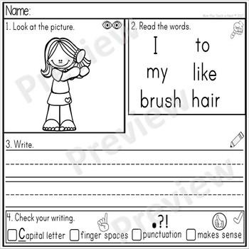 Kindergarten Sentence Structure Writing *Sentence Building- Set 2