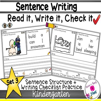 Kindergarten Sentence Structure Writing *Sentence Building-Set 3