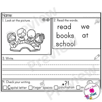 Kindergarten Sentence Structure Writing *Sentence Building- Set 5 At School