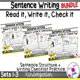 Kindergarten Sentence Structure Writing *Sentence Building- BUNDLE 1 Sets 1-3