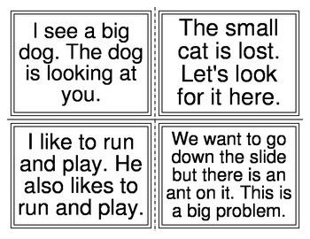 Kindergarten Sentences Task Cards (40 sentences) (20 Cards)