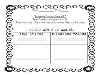 Kindergarten - Sentences/CVC/Digraphs Practice Pack
