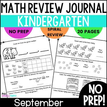 September Kindergarten Daily Spiral Review Math Journal