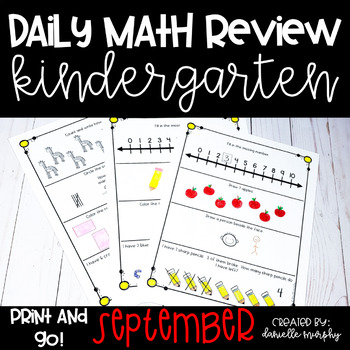 Math Journal--September Daily Review for Kindergarten--Com