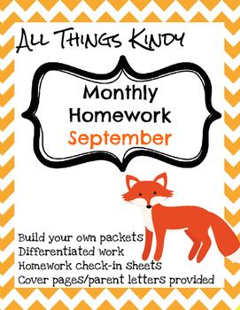 Kindergarten September Homework
