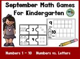 Kindergarten September Math Games