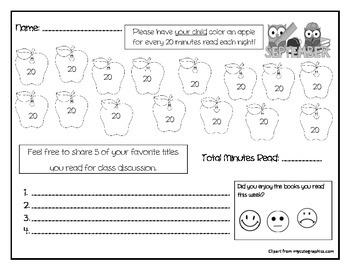 Kindergarten September Reading Log