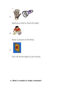 Kindergarten Shadows and Change Assessment