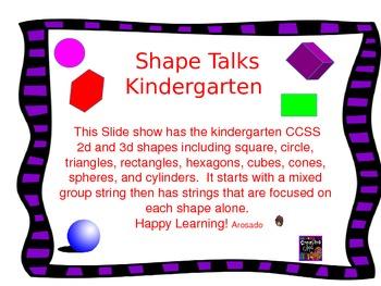 Kindergarten Shape Talks 2D and 3D Shapes.