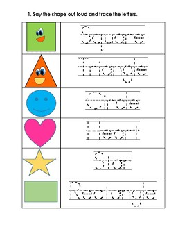 Kindergarten Shapes Worksheets | Teachers Pay Teachers