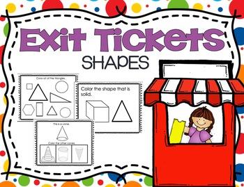 Kindergarten Shapes Exit Tickets