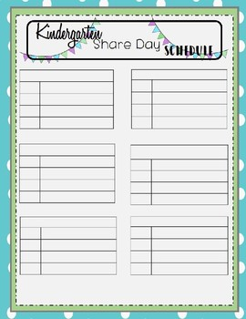 Kindergarten Share Day Schedule