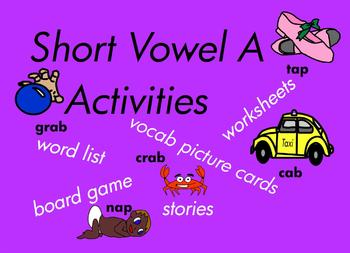 Kindergarten Short Vowel A Word Games, for Building Reading and Writing  118 pgs