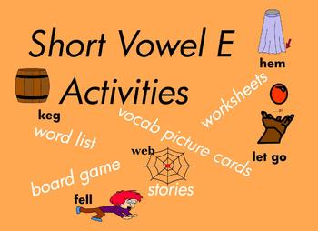 Kindergarten Short Vowel E Word Games, for Building Reading and Writing  75 pgs