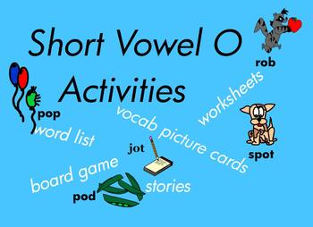 Kindergarten Short Vowel O Word Games, for Building Reading and Writing   87pgs