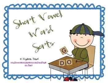 Kindergarten Short Vowels CVC Picture Sorts Medial Short V