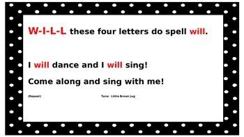 Sight Word Songs for Kindergarten