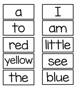 Kindergarten Sight High Frequency Words Early Literacy Cards for Word Wall