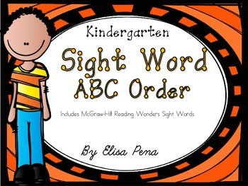 Kindergarten Sight Word ABC Order Cut and Paste Printables