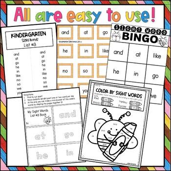 Kindergarten Sight Word Activities List 3