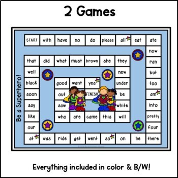 Kindergarten Sight Word Games & Activities Superheroes