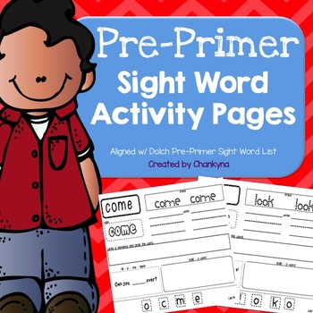 Kindergarten Sight Word Activity Pages (Pre-Primer Word Work)