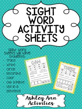Sight Word Activity Sheets- Kindergarten