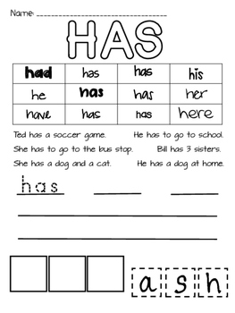 Sight Word Activity Sheets- Kindergarten