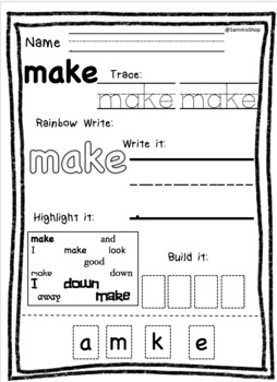 Kindergarten Sight Word Activity sheets bundle