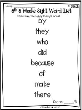 Kindergarten Sight Word Assessment Log