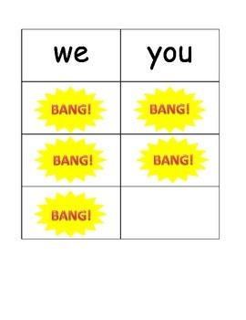 Kindergarten Sight Word BANG! game