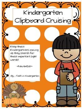 Kindergarten Sight Word & Beginning Sounds Write the Room ~ November