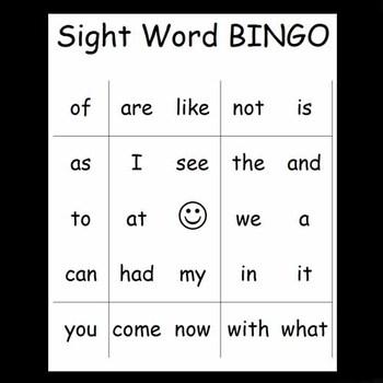25 Kindergarten Sight Word Bingo Cards