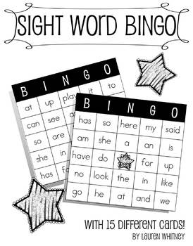 Kindergarten Sight Word Bingo