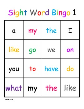 Kindergarten Sight Word Dolch Bingo Beginner Level 1 ...